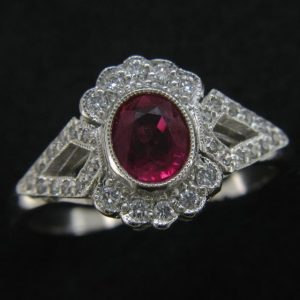 18ct Pink Ruby & Diamond Ring