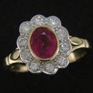 Cornish tin & gold diamond ring