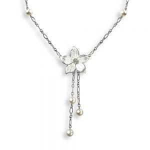 White Stephanotis Silver Necklace