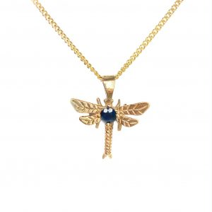cornish tin & gold mayfly sapphire necklace