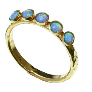 Gold Ring With Cahboshon Opals