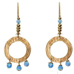 yaron morhaim hammered gold and opal drop earrings