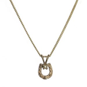 cornish tin & gold horse shoe necklace with pearl