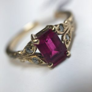 9ct Rubelite & Diamond Ring