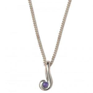 cornish tin & silver swirl necklace