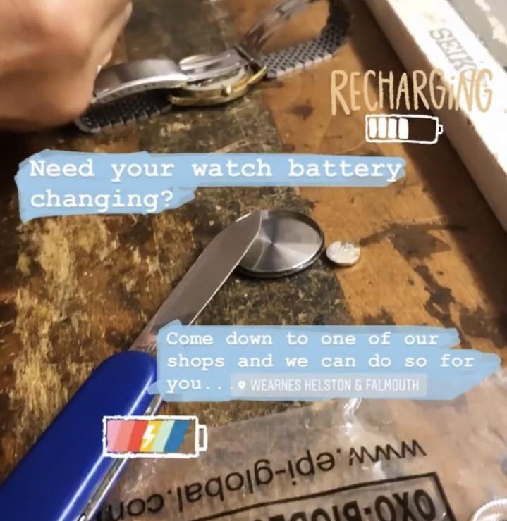 wearnes jewellers watch battery service