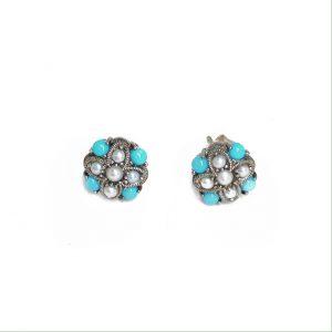 turquoise pearl stud earrings