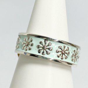 sterling silver blue flower ring