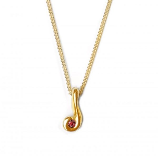 Image of cornish tin & gold swirl necklace with ruby
