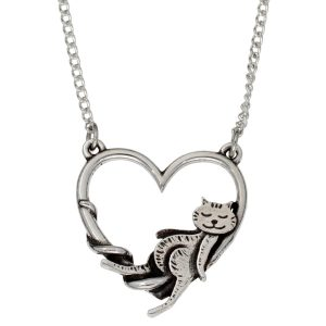 silver heart cat necklace