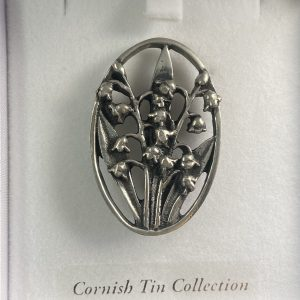 lily of the valley cornish tin & silver brooche