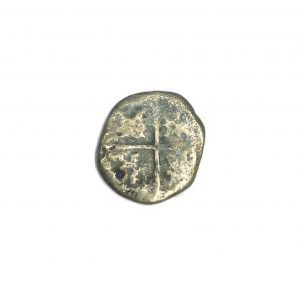 Shipwrecked silver cob coin