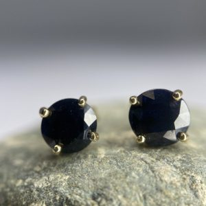sapphire 9ct gold stud earrings