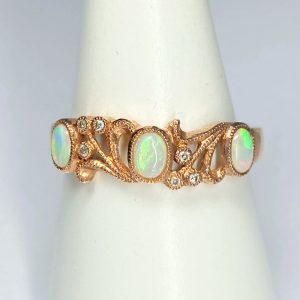 9ct rose Gold Diamond Opal Ring