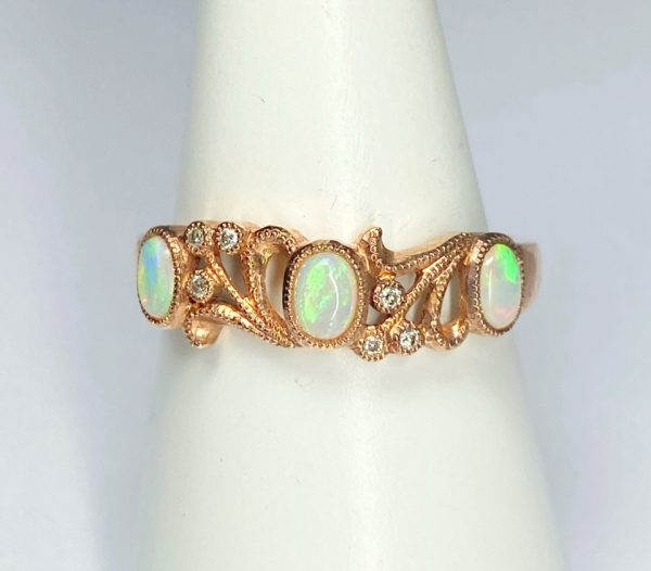 9ct rose Gold Diamond Opal Ring