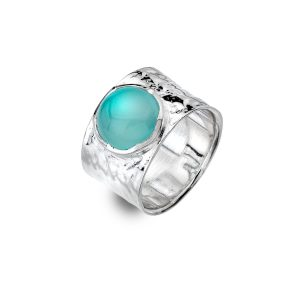 Silver Blue Chalcedony Ring