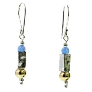 Hammered silver & opal earrings
