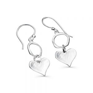 Silver Circle & Heart Earrings