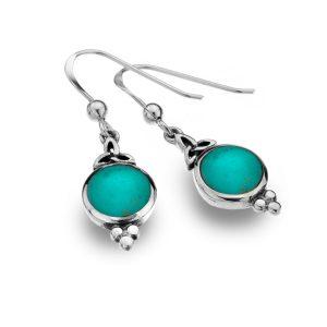 silver celtic turquoise earrings