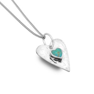 Silver Turquoise Heart Necklace