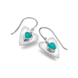 Silver Turquoise Heart Earrings