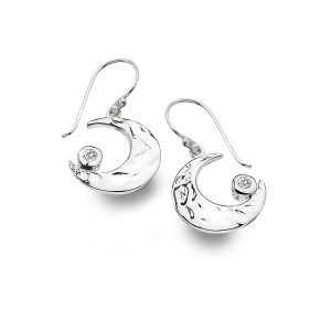 Silver Textured Moon Earrings