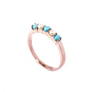 9ct Rose Pearl & Turquoise Ring