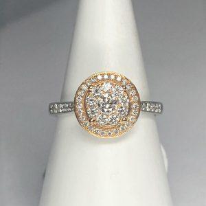 Rose & White Gold Halo Diamond Ring