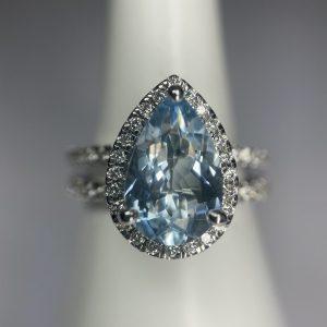 Pear Aquamarine & Diamond Ring