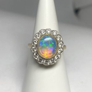 Opal & Diamond Cluster Ring