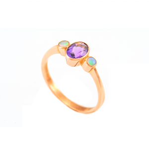 9ct Rose Amethyst & Opal Ring