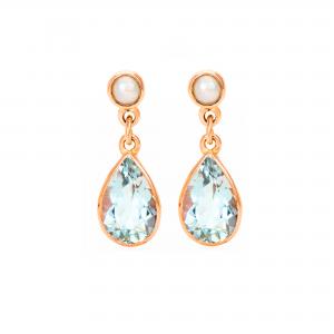 9ct Pearl & Aquamarine Earrings