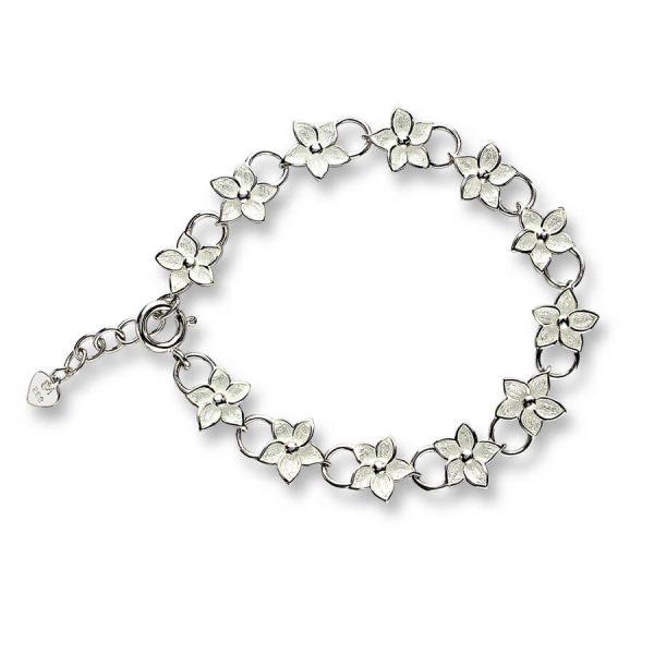 White Stephanotis Silver Bracelet