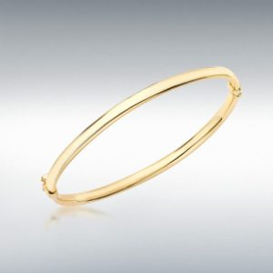 9ct Gold Plain Hinged Bangle