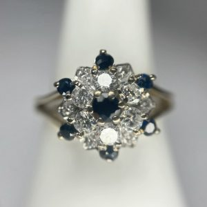 Blue Sapphire & Diamond Cluster