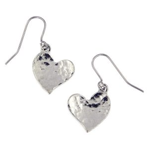 Hammered Drop Heart Earrings
