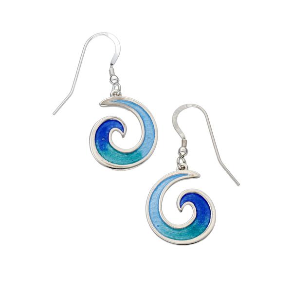Wave Enameled Drop Earrings