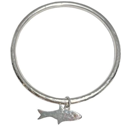 Silver Hammered Fish Bangle