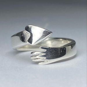 Silver Hand & Heart Ring