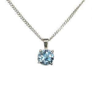 Silver sky blue topaz necklace