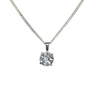 Silver White topaz necklace