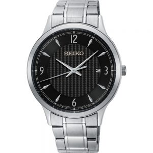 Mens Seiko Silver Stainless Steel Watch With Black Dial