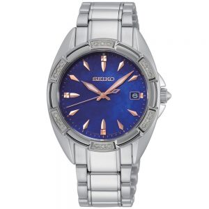 Ladies blue and diamond stainless steel watch