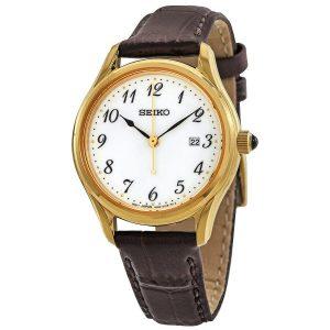 Ladies Seiko Gold Leather Watch