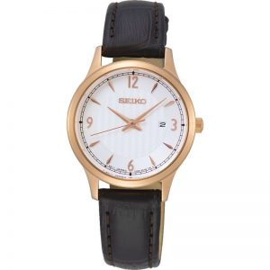 Ladies Gold Leather Seiko Watch