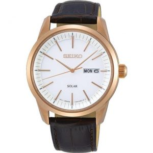 Men's Leather & Gold Watch