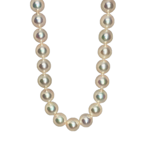 "7.5-8mm AAA Quality Akoya cultured pearls, 26"" long with an 18ct white Gold clasp."