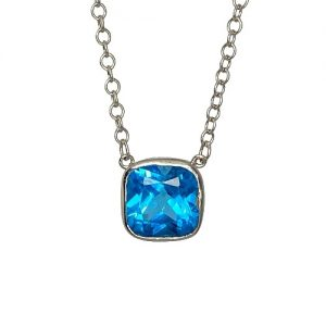 White Gold Blue Topaz Necklace - Handmade