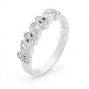 White Gold Diamond Millgrain ring