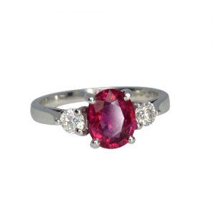 Rubellite & Diamond 3 Stone Ring - Cornish Tin & White Gold